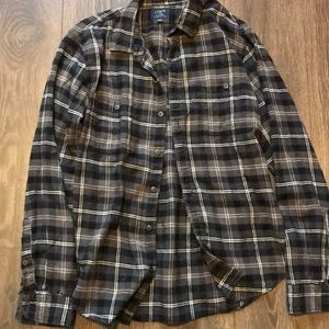 J. Crew slim fit plaid flannel gray black